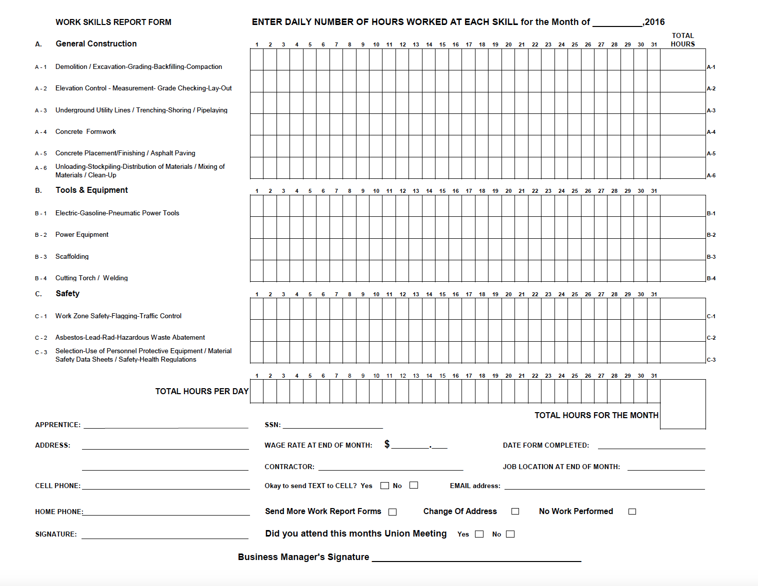 Work Report Form 2018 for Download and Print